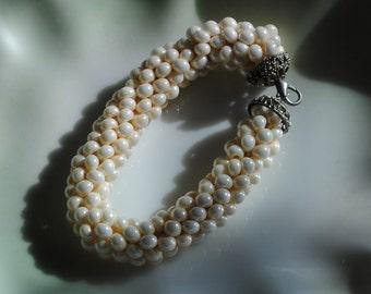 Lentil bead crochet bracelet (#3)
