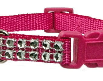 "Teacup Rhinestone 3/8"" Dog Collar Hot Pink Dog Collar"