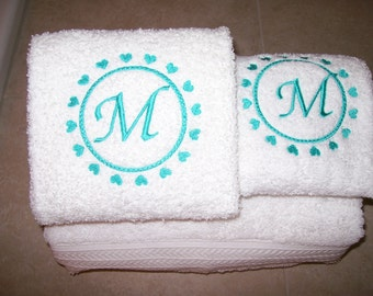 Embroidered Personalized Valentines Day Bath Towel Set with Hearts and Letter Monogram
