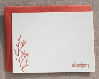 Custom Letterpress Flat Card with Coral
