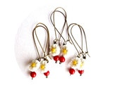 Set of 3 White Daisy Wedding Jewelry, Bridemaids Gift, Bronze Red & White Weddings, Rustic, Long Earrings, Botanical Weddings