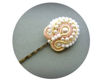 Soutache Hair Pin, Ivory & Soft Pink Bridal Bobby Pin, Ivory Pearls Wedding Hair Pin, Hand Embroidered Bridal Bobby pin