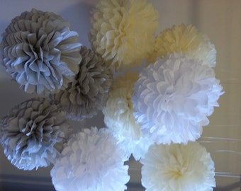 Tissue Paper Pom Poms - Set of 15 //Weddings//Anniversary//Decorations//Receptions//Baptism//Parties