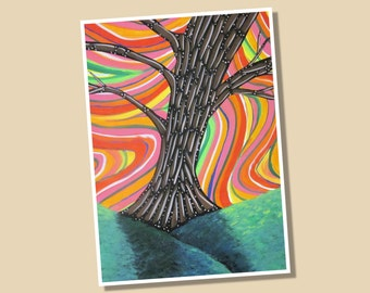 Psychedelic Tree Limited Edition Giclee Print 8x10 Signed and Numbered
