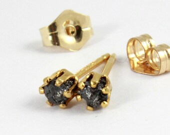Tiny Rough Diamond Post Earrings - 2mm 14K Gold Filled Studs - Black Raw Diamonds - April Birthstone
