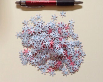100 tiny paper snowflakes, blue and pink confetti, 1 cm