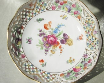 1918 Reticulated Bowl,Hand Decorated, Dresden Flowers. Wedding Gift, Housewarming Gift, Hostess Gift, Anniversary Gift, Thank You Gift