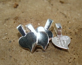 Silver Plated Heart Bails DS1039 - Heart Bails, Necklace Bails, Bracelet Bails, Silver Bails, Glue On Bails, Glass Pendant Bails, DIY