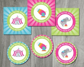 Circus Birthday Party - Custom Circus Birthday Favor Labels or Cupcake toppers, Party Printable, Carnival