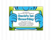 Smurfs Birthday Invitation Printable Download Print at Home with FREE THANK YOU Card