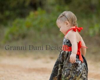 Mossy Oak orange baby girl 6 9 12 18 months 2t 3t 4t 5t halter dress camo