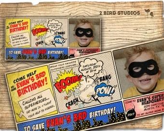 Comic book superhero Invitation / VINTAGE Superhero birthday invite - DIY printable invitation - vintage superhero