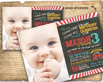 Circus invitation- Carnival party invite - chalkboard circus birthday invitation - DIY printable invitation