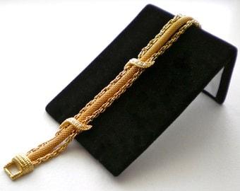 Signed GOLDETTE Vintage Golden Mesh, Chains & Seed Pearl Bracelet  Circa 1960