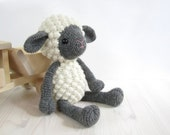 Amigurumi Sheep - Crocheted lamb - Stuffed toy animal - Farm animal - Alpaca wool (LL-030)