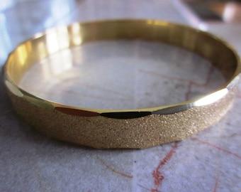 SALE Vintage Gold Etched Bangle Bracelet, Gold Wide Bracelet, Gift For Her, Bangle Bracelet