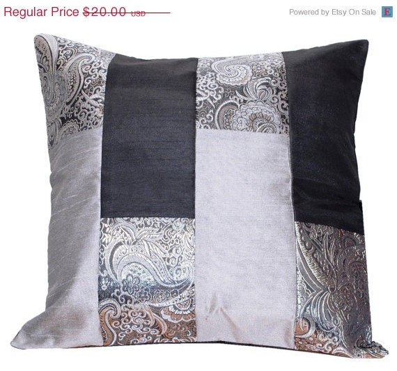 Black And Silver Decorative Pillows : Items similar to SALE Black and Silver Pillow, Bed Pillow, Sofa Pillow, Black Silver Grey, Throw ...