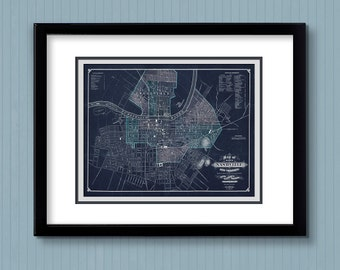 "Vintage Map of Nashville 8x10"" Giclee Print unframed"