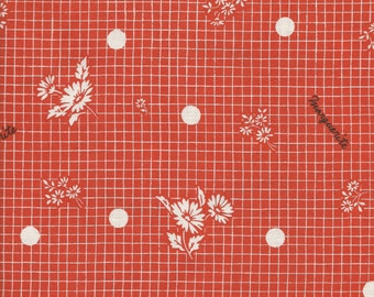 Marguerite Grid in Orange by Suzuko Koseki for  Yuwa of Japan