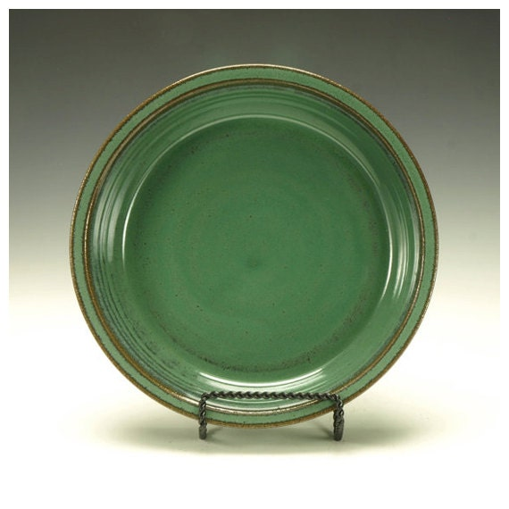 Pie Plate, Stoneware, Green.  Ready to ship.