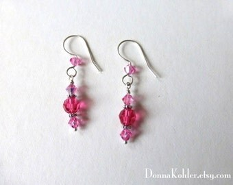 Pink Swarovski Crystal Earrings Hand Formed Sterling Silver Ear Wires Fine Silver For Wrapping Dangling Earrings by Donna Kohler