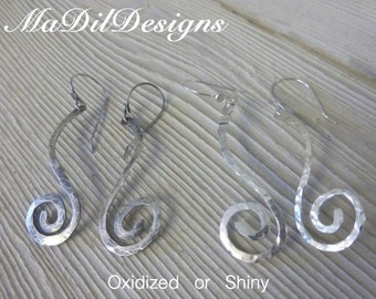 Spiral Drop Earrings Hand Forged Sterling Silver Hand Crafted Ear Wires to Match Hand Hammered Dangling Earrings by MaDilDesigns