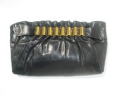 1940s LARGE deco black calfskin clutch with brass