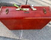 Vintage Brick Red Samsonite Shwayder Luggage 1950s