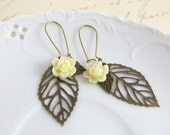 Leaf Earrings - Skeleton Leaf Earrings - Antique Bronze Leaf Earrings -  Ivory Resin Flower - Nature inspired Jewelry