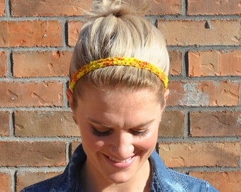 Yellow Crochet Headband Fabric Boho Hair Accessory