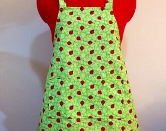 Kids Apron - Green Ladybug Childrens Apron - Childs Apron - Kitchen Accessory