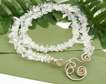 Quartz Crystal Collar, Wire Wrapped Spirals, Pendant Holder, Necklace, Quartz Crystals, Icy Clear, Handmade, Semi Precious Stones, Wedding