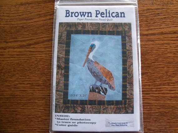 Brown Pelican Paper Pieced Quilt Pattern Free Shipping