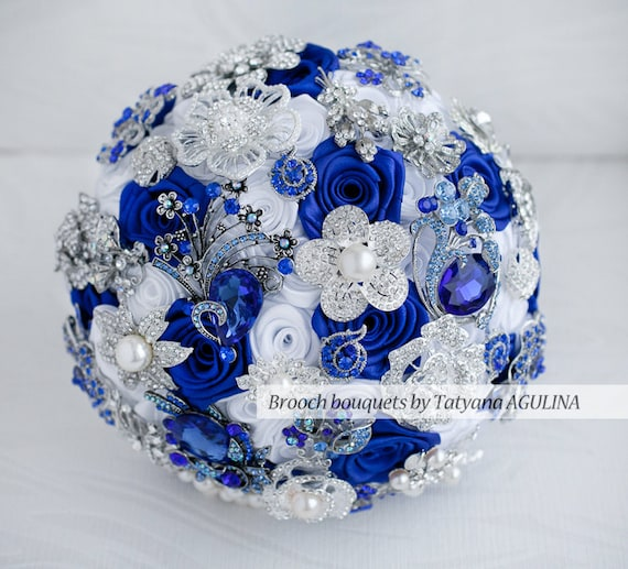 Royal Blue Silver And White Wedding Bouquets : Brooch bouquet white royal blue and silver by