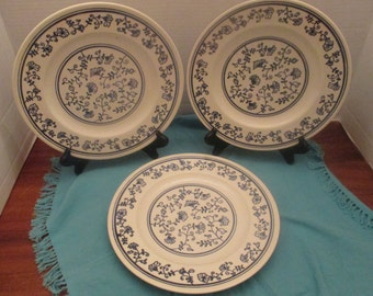 Homer Laughlin China Brittany Shape Blue Sturbridge Pattern - Set of 3 Dinner Plates