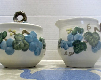 Metlox Vernonware Poppytrail Traditional Shape - Sculptured Grape Pattern - Creamer and Sugar with Lid Set