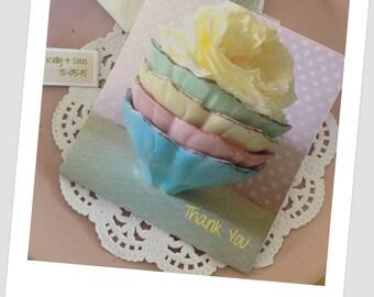 "Tea Bag Favor Handmade ""Pastel Stack"" Shower Invitations Wedding or High Tea Favours Retro Mint Roses- Including Tea Bag"