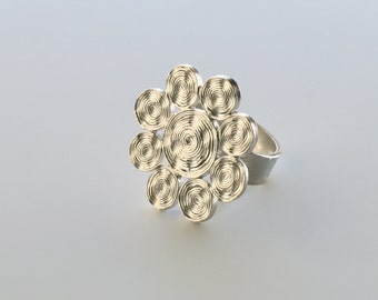 Handmade Sterling Silver Chinese Button Swirl Ring or Forever Swirl RIng, Adjustable Ring
