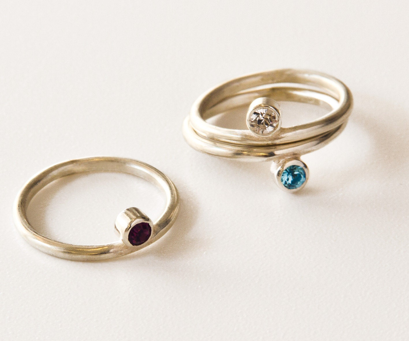 sterling silver birthstone ring one stackable by