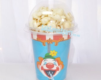 CLOWN Carnival game PopCorn TUMBLER Cup a Disposable Fun & Affordable Event Favor/ GumBalls/ Ice CrEaM -Smoothie-craft supply for Easy DIY
