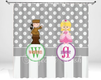 Dot Personalized Custom Shower Curtain Monogram with Name or Initials perfect for any bathroom