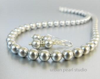 Swarovski Petite Gray Pearl Necklace Earrings Set, Bridesmaid Gift Jewelry, Grey Pearl Earrings Necklace, Swarovski Silver Pearl Necklace