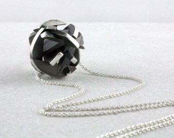 Oxidized sterling silver necklace, 3D printed black and silver pendant