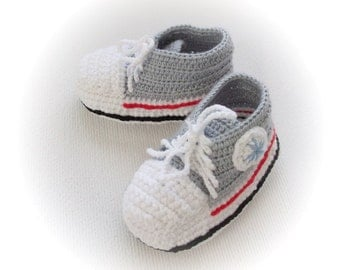 Grey White Crocheted Converse StyleBlue and White Baby Booties-Converse Style Booties-Bootees-Shoes