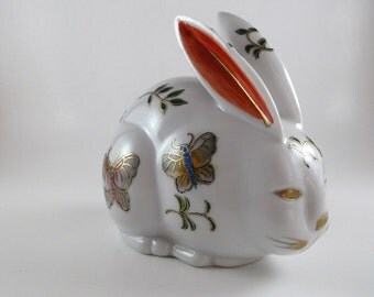 Vintage Rabbit Figurine Japanese Arita Imari Porcelain Figurine Fine China Bunny Rabbit Collectible Hand Painted Figurine Easter Decor