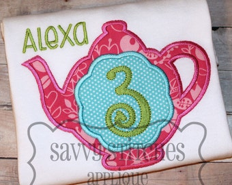 Teapot Number Machine Embroidery Applique Set