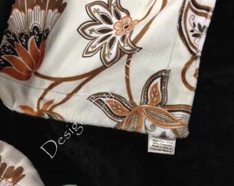 Minky Crib Blanket,Minky Baby Blanket, Floral Blanket,Modern Blanket, Minky Boy or Girl Bedding, Baby Crib Blanket  Crib Size 36 x 45 in