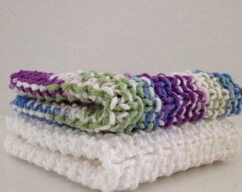 Hand Knit Cotton Dish Cloths Set of 2