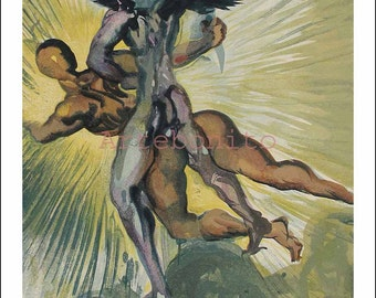 """Dali Woodcut """"Purgatory 8 -The guardian angels of the valley"""" suite Divine Comedy"""