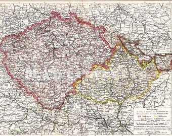 1898 Bohemia, Moravia and Austrian Silesia at the end of the 19th Century Antique Map